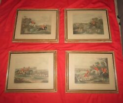 Antique Bachelors Hall Hunting Scenes Prints Plates 2-5 Total 4 Made In England