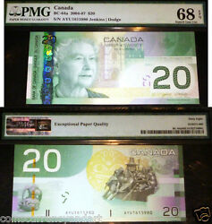Pmg 68 Superb Gem Unc 20 Bank Of Canada 2004-07 -scarce In This Grade
