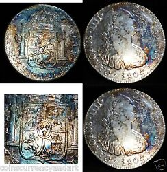 Peru 8 Reales1805 Silver Coin Beautiful Toning Electric Blue And Rainbow Colours