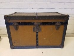 Vintage Antique Wooden Doll Trunk Toy Chest