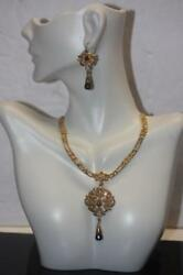 22k Gold Indian Bridal Set Necklace And Earrings Rose-cut Diamonds And Black Stones