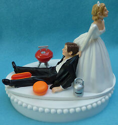 Wedding Cake Topper Bbq Grilling Barbecue Chef Weekend Grill Cook Burger Themed