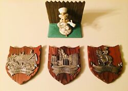 Three Shields With Pewter Designs Wall Sculpture Plaques Beautiful Pieces.. Rare