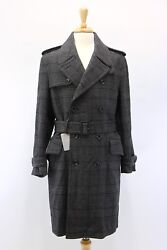 NWT Tom Ford Men's 100% Wool DB Plaid Belted Overcoat WLeather Details 4838 US