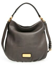 NWT MARC by MARC JACOBS 'New Q Hillier' Leather Hobo Bag Dark GRAY $428 AUTHENTC