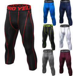 Men's Compression Leggings Running Basketball Pants 34 Cropped Moisture Wicking