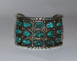 Vintage Frank Guerro Cuff Bracelet Sterling And Turquoise 15 Stones