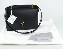 NWT CHRISTIAN DIOR Black Leather With Attachable Strap C'est Dior Flap Bag