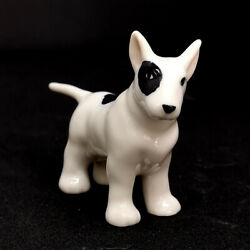 Bull Terrier Dog Figurine Ceramic Miniature Collectible Hand Painted Porcelain