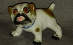 Vintage FRENCH BULLDOG with Big Glass Eyes Porcelain Dog Figurine  c1920s
