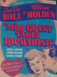 Lucille Ball And William Holden - Miss Grant Takes Richmond Movie Poster