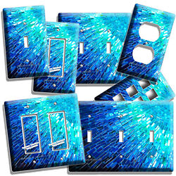 BLUE PEARL MOSAIC GLASS TILE DESIGN LIGHT SWITCH OUTLET WALL PLATE KITCHEN DECOR