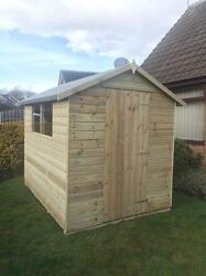 7x6 19mm Tanalised Tandg Wooden Shed Euro Apex Pressure Treated Hut Store