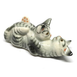 Tiger Cat Figurines Collectibles Gray Ceramic Dollhouse Miniatures Animals