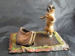 Cold Painted Bronze Novelty Ink Stand Of A Pug Dog And Satchel On Carpet. Signed