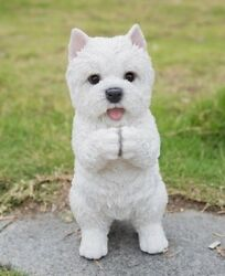 Westie Terrier Playing Puppy Dog - Life Like Figurine Statue Home Garden NEW