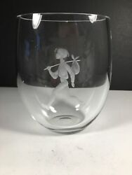 Orrefors Crystal Vase with Etched Boy and Hobo Stick $59.50