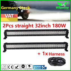 2pcs 32inch 180w Led Work Light Bar For Jeep 4wd Atv Car Ute Suv Driving Lamp