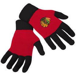Officially Licensed Nhl Knit Colorblock Gloves Chicago Blackhawks