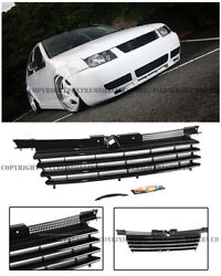 Euro Style Front Bumper Badgeless Glossy Black Grille Cover For 99-05 Jetta Mk4