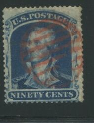 1860 Us Stamp 39 90c Genuine Used Red Cancel Catalogue Value 10000 Certified