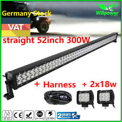 52inch 300w+2x18w Led Work Light Bar Lamp For Jeep Suv Atv Ute Truck 4wd Boat