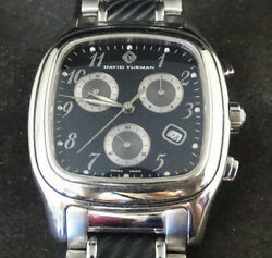 36mm David Yurman Black Dial Stainless Steel And Silicone Watch 7.5 Wrist