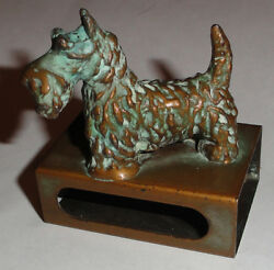 Antique Brass Scotty Dog Matchbox box Holder VG scottish terrier