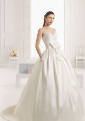 Pristine Rosa Clara Two Enebro Size 4 Ivory Wedding Dress With Bow And Pockets