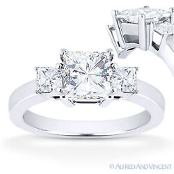 Forever One Def Square Cut Moissanite 3-stone Engagement Ring In 14k White Gold