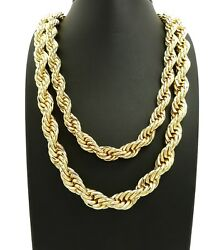 New 10mm/24 And 12mm/30 Rope Chain Hip Hop Necklace Set - Rc2819g