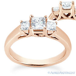 Forever One D-e-f Square Cut Moissanite 3-stone Engagement Ring In 14k Rose Gold