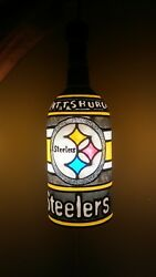 Pittsburgh Steelers Inspired Pendant Lamp Handpainted Stained Glass