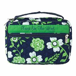 Trust In The Lord Green Floral Quilted Cotton Large Print Bible Cover Case