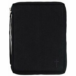 Black Cross 8 X 10.5 Inch Reinforced Polyester Bible Cover Case W/ Handle, Large
