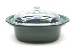 Vintage Dutch Oven Green Glazed Ceramic Clay Fired Lidded 6 Qt Bakeware Cookware