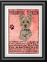 YORKSHIRE TERRIER character Quote Art Print 8 x 10 image modern home wall decor
