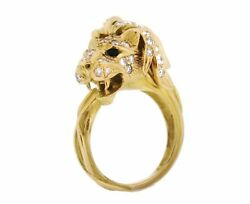 Lion's Head Ring With Diamonds -french Maker-in 18k Yellow Gold--hm1897sb