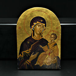 Russian Virgin Mary With Christ Child Icon Egg Tempera On Wood 22k Gold Ohrid