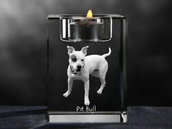 Pit Bull Terrier crystal candlestick with dog souvenir Crystal Animals USA