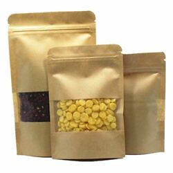 Stand Up Kraft Paper Pouches For Zip Food Packaging Lock Bag W/ Window Heat Seal