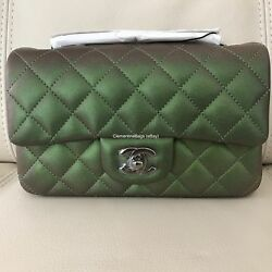 $$SALE$$ Chanel Mini Green Iridescent Rectangle Timeless Classic Flap bag NEW