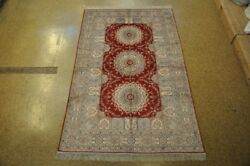 Strong Fiber Silk Bakhtiari Red - Ivory Hand-knotted Area Rug 5 X 8