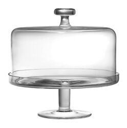 Barski European Glass 2 Pc Set Footed Cake Plate With Dome 12h 11d