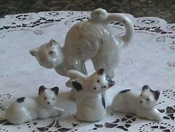 Vintage Miniature Cat Figurines Japan ~Arched Back ~ Black and White Spotted