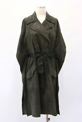 Nwt7745 Brunello Cucinelli Womens Leather Suede Mohair Belt Db Overcoat 42 A181