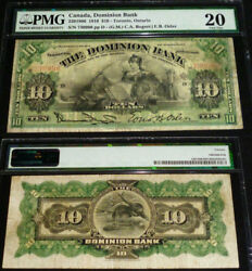 Pmg Vf 20 - 1910 10 Dominion Bank Of Canada