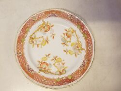 Antique Davenport Longport Staffordshire Plate With Floral And Butterfly Dec.