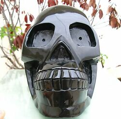 Huge 12220g Natural obsidian crystal Carved Skeleton Healing SKUll 310mm