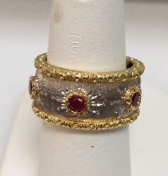 18k Y/w Gold 5 Rubies .53ct Tw Band Buccellati Style Made In Italy Size 6.25